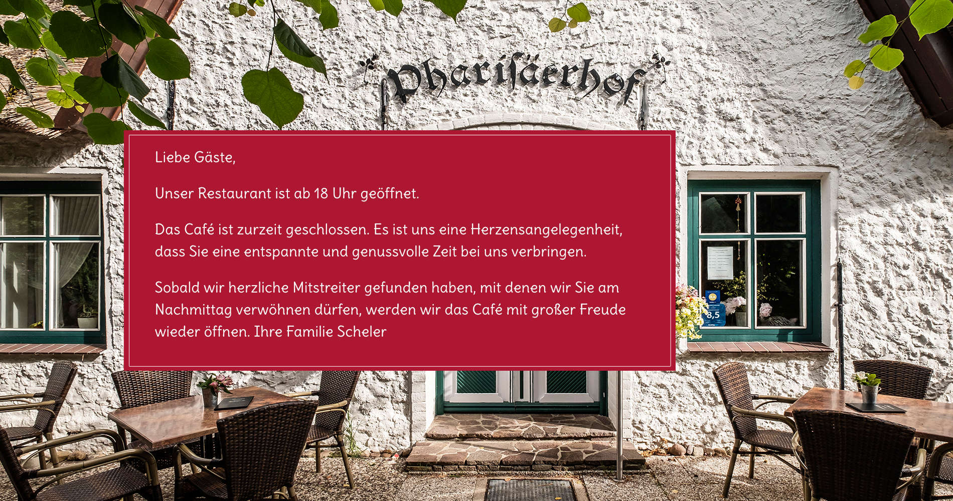 Café ab 21.6. für Gäste geschlossen